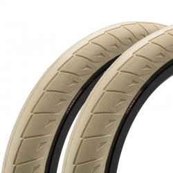 "Pair of CINEMA Nathan Williams tires 20 x 2.50"" CREME / BLACK WALL"