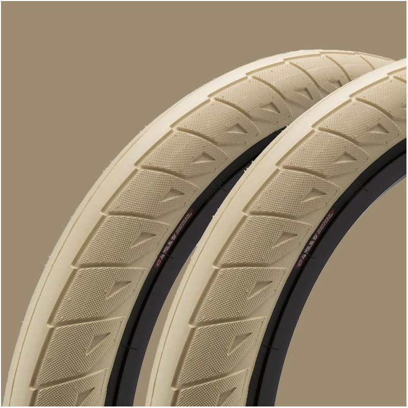 "Paire de pneus CINEMA Nathan Williams 20 x 2.50"" CREME / BLACK WALL"